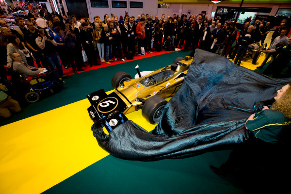 Autosport International Exhibition.  National Exhibition Centre, Birmingham, UK. Thursday 14 January 2016.  Classic Team Lotus prepare for an unveiling of the Lotus Type 56 B. World Copyright: Sam Bloxham/LAT Photographic. ref: Digital Image _SBL6138