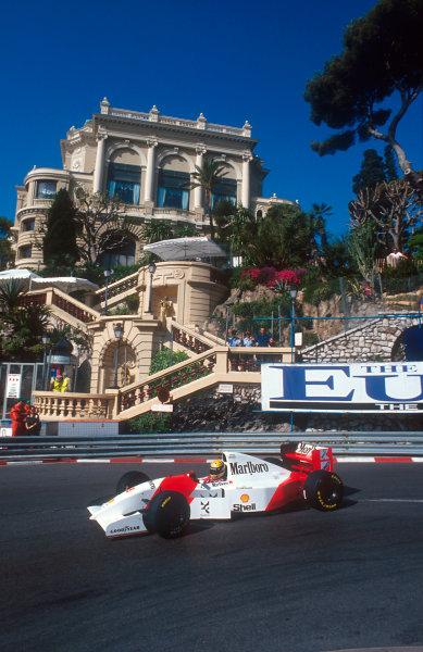1993 Monaco Grand Prix.Monte Carlo, Monaco.20-23 May 1993.Ayrton Senna (McLaren MP4/8 Ford) 1st position at Loews Hairpin.Ref-93 MON 11.World Copyright - LAT Photographic