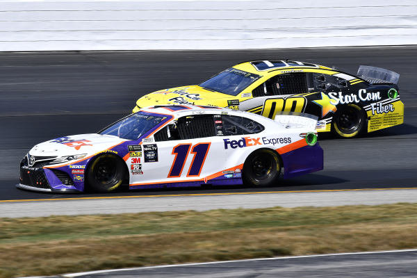 #11: Denny Hamlin, Joe Gibbs Racing, Toyota Camry FedEx Express and #00: Landon Cassill, StarCom Racing, Chevrolet Camaro StarCom Fiber