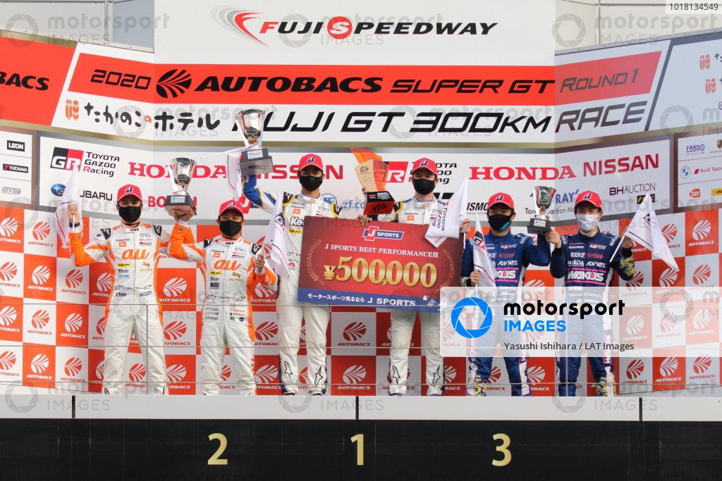 GT500 Winner Ryo Hirakawa & Nick Cassidy, KeePer TOM'S GR Toyota Supra, 2nd position Yuhi Sekiguchi & Sacha Fenestraz, au TOM'S GR Toyota Supra and 3rd position Kazuya Oshima & Sho Tsuboi, WAKO'S 4CR GR Toyota Supra
