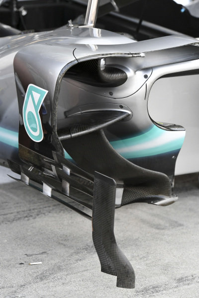 Side pod aero for Mercedes AMG F1 W10