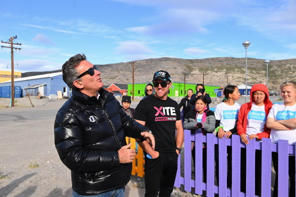 Alejandro Agag, CEO, Extreme E, and Oliver Bennett (GBR), Hispano Suiza Xite Energy Team, take part in the official switching on of solar panels for the Greenland Solar Project