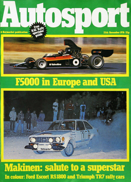 Cover of Autosport magazine, 25th November 1976