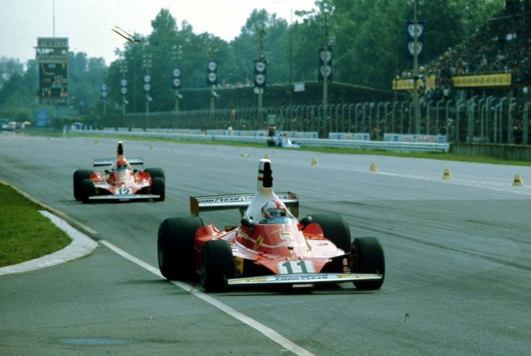 1975 Italian Grand Prix.Monza, Italy.5-7 September 1975.Clay Regazzoni leads Niki Lauda (both Ferrari 312T). They finished in 1st and 3rd positions respectively.World Copyright - LAT Photographic
