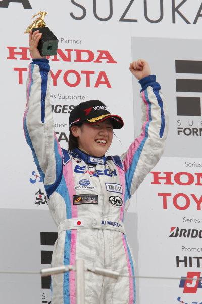 2014 All-Japan F3 Championship Suzuka, Japan. 12th - 13th April 2014. Rd 1. Race 2 - N-Class Winner Ai Miura ( #3 EXEDY RACING TEAM ) podium, portrait World Copyright: Yasushi Ishihara / LAT Photographic. Ref: 2014JF3_Rd2_015.JPG