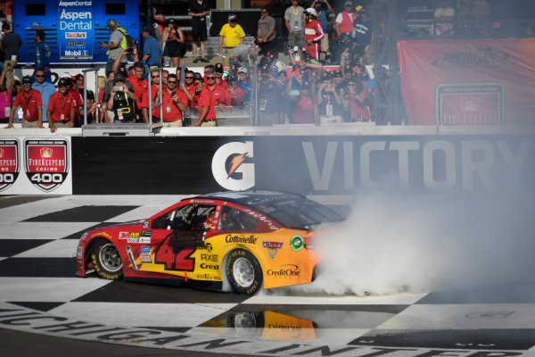 Monster Energy NASCAR Cup Series FireKeepers Casino 400 Michigan International Speedway, Brooklyn, MI USA Sunday 18 June 2017 Kyle Larson, Chip Ganassi Racing, Cars 3 Target Chevrolet SS celebrates with a burnout World Copyright: Logan Whitton LAT Images