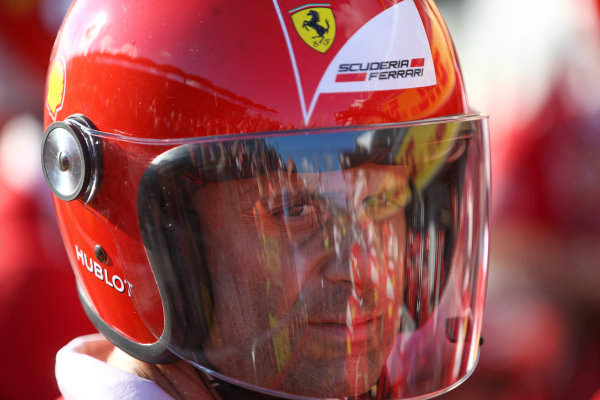 Hungaroring, Budapest, Hungary.  Thursday 27 July 2017. Ferrari pit crew with helmet on. World Copyright: Coates/LAT Images  ref: Digital Image DJ5R0925