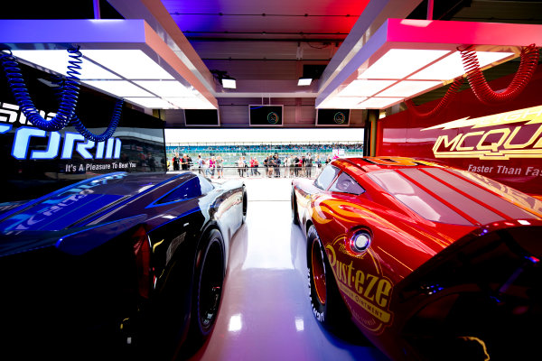 Silverstone, Northamptonshire, UK.  Thursday 13 July 2017. Recreations of the vehicles from the film Cars in a garage. World Copyright: Glenn Dunbar/LAT Images  ref: Digital Image _X4I2246
