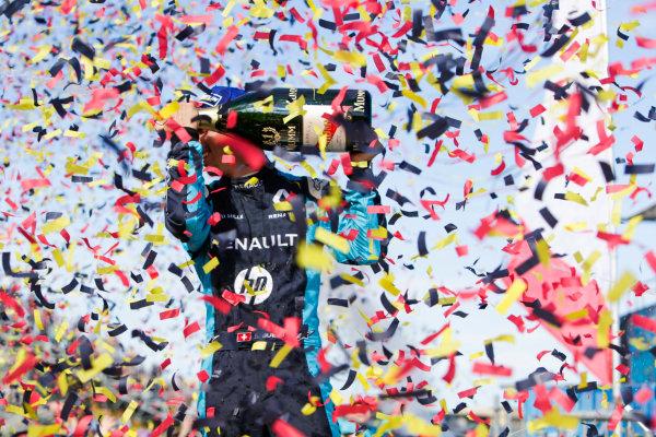 2016/2017 FIA Formula E Championship. Round 8 - Berlin ePrix, Tempelhof Airport, Berlin, Germany. Sunday 11 June 2017. Sebastien Buemi (SUI), Renault e.Dams, Spark-Renault, Renault Z.E 16, sprays the champagne on the podium. Photo: Andrew Ferraro/LAT/Formula E ref: Digital Image _FER3179