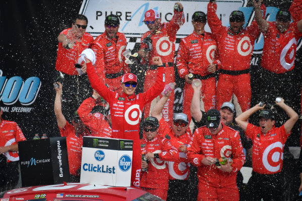 Monster Energy NASCAR Cup Series Pure Michigan 400 Michigan International Speedway, Brooklyn, MI USA Sunday 13 August 2017 Kyle Larson, Chip Ganassi Racing, Target Chevrolet SS celebrates in victory lane after winning World Copyright: Logan Whitton LAT Images