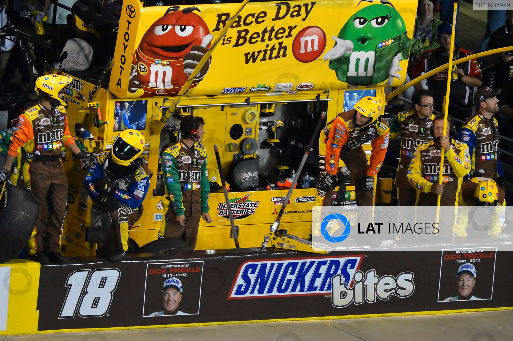 May 17- 18, 2013, Concord, North Carolina USA Kyle Busch, Snickers Bites Toyota Camry team pit banner with a in memory of Dick Trickle. .© 2013, Brian Czobat LAT Photo USA .