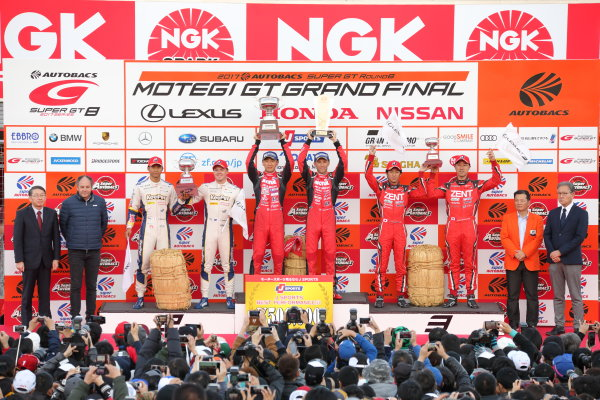 2017 Japanese Super GT Series. Motegi, Japan.  11th - 12th November 2017. Rd 8. GT500 Winner Tsugio Matsuda & Ronnie Quintarelli ( #23  MOTUL AUTECH GT-R ) 2nd position Ryo Hirakawa & Nick Cassidy ( #37  KeePer TOM'S LC500 ) 3rd position Yuji Tachikawa & Hiroaki Ishiura ( #38 ZENT CERUMO LC500 ) podium portrait World Copyright: Yasushi Ishihara/LAT Images ref: Digital Image 2017_SGT_Rd8_007