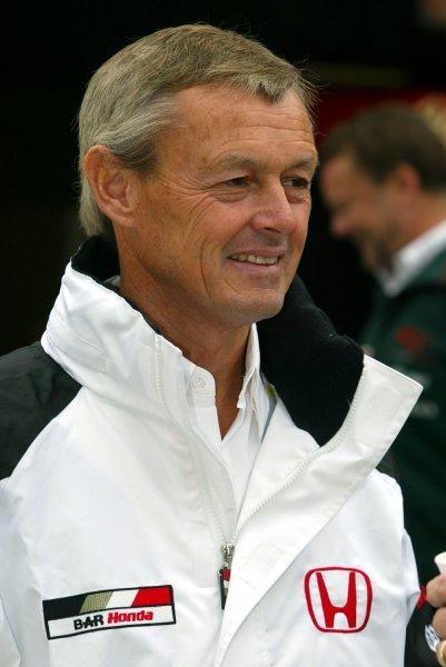 Adrian Reynard (GBR) BAR. Formula One World Championship, Rd15, United States Grand Prix, Race Day, Indianapolis, USA, 28 September 2003. DIGITAL IMAGE