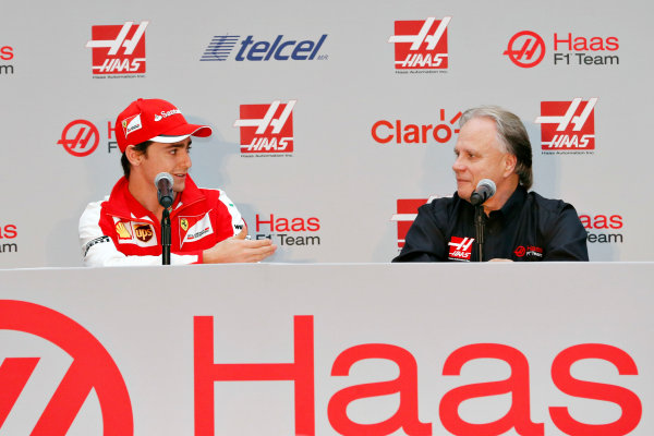 Autodromo Hermanos Rodriguez, Mexico City, Mexico. Saturday 31 October 2015. Esteban Gutierrez is announced as a Haas F1 driver for the 2016 season alongside Gene Haas, Owner and Founder, Haas F1. World Copyright: Glenn Dunbar/LAT Photographic ref: Digital Image _89P9924