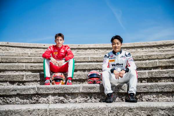2017 FIA Formula 2 Round 3. Monte Carlo, Monaco. Wednesday 24 May 2017. Charles Leclerc (MCO, PREMA Racing), Nobuharu Matsushita (JPN, ART Grand Prix). Photo: Zak Mauger/FIA Formula 2. ref: Digital Image _54I4696