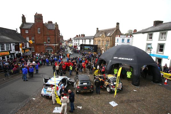2017 Prestone MSA British Rally Championship,  Pirelli International Rally, Carlisle. 29th - 30th April 2017. BRC Podium in Brampton. World Copyright: JEP / LAT Images.