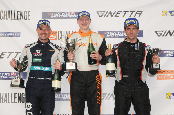 2017 Ginetta Racing Drivers Club + Oulton Park, Cheshire. 15th April 2017. Race 2 Podium (l-r) Michael Crees Ginetta G40, Phil Ingram Ginetta G40, Richard Tetlow Ginetta G40. World Copyright: JEP/LAT Images.