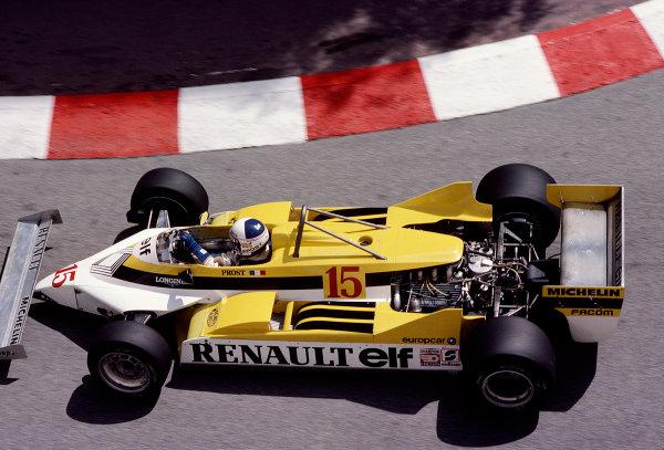 1981 Monaco Grand Prix. Monte Carlo, Monaco. 28-31 May 1981. Alain Prost (Renault RE30). Ref-81MON76. World Copyright - LAT Photographic