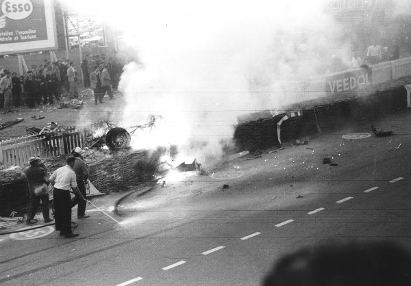"""Le Mans, France. 11-12 June 1955.The aftermath of the worst tragedy in motor racing history. After 2 hours of the race """"Pierre Levegh"""" crashed into the crowd killing himself and 82 spectators. Picture 1 of 5. Ref-Motor 5682G/23.World Copyright - LAT Photographic"""
