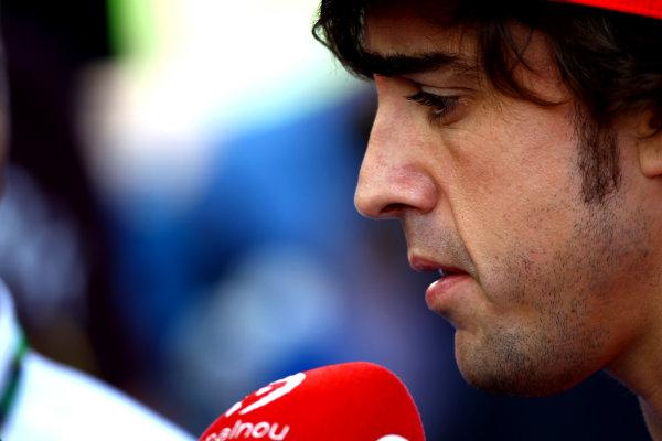 Korea International Circuit, Yeongam-Gun,South Korea.13th October 2011.Fernando Alonso, Ferrari 150° Italia. Portrait. World Copyright: Andy Hone/LAT Photographicref: Digital Image CSP_8240