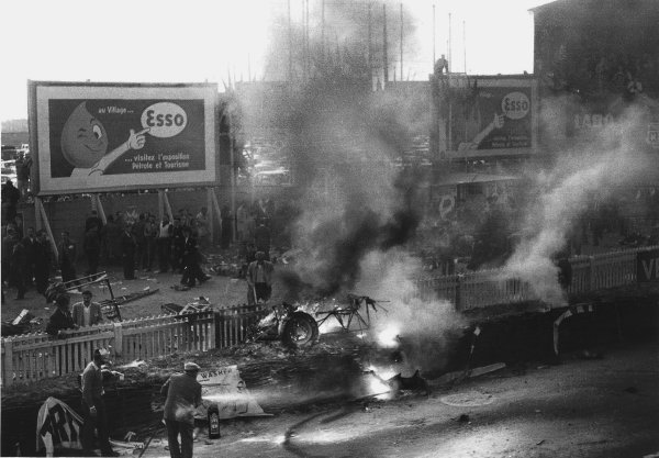 """Le Mans, France. 11th - 12th June 1955 The aftermath of the worst tragedy in motor racing history. After 2 hours of the race """"Pierre Levegh"""" crashed into the crowd killing himself and 82 spectators. Picture 4 of 5 World Copyright: LAT Photographic Ref: Motor 5682G - 27."""