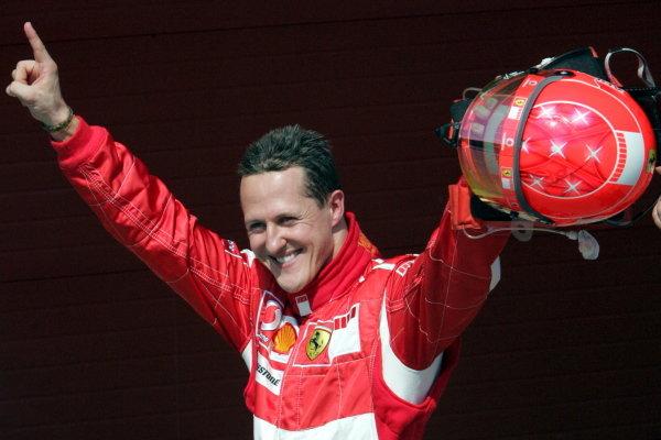 Michael Schumacher (GER) Ferrari celebrates taking pole position. Formula One World Championship, Rd4, San Marino Grand Prix, Qualifying Day, Imola, Italy, 22 April 2006.  DIGITAL IMAGE BEST IMAGE