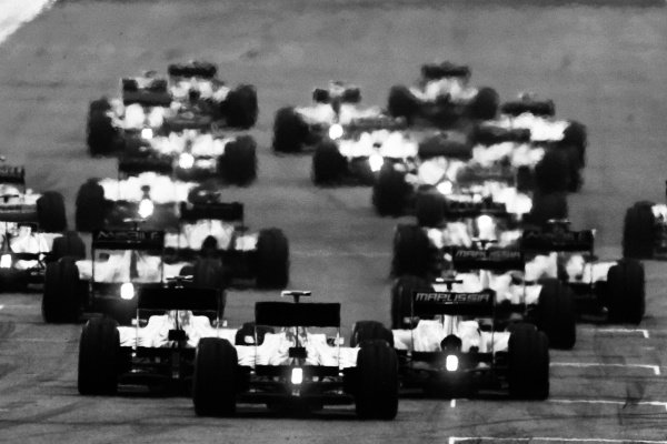 The start of the race.  Formula One World Championship, Rd 9, British Grand Prix, Race, Silverstone, England, Sunday 10 July 2011.  Note: This image has been digitally altered from the original, which is also available on the archive. (d11gbr2012.jpg).