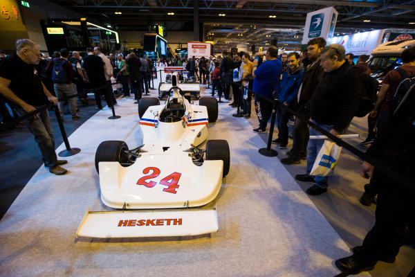 Autosport International Exhibition. National Exhibition Centre, Birmingham, UK. Saturday 14 January 2017. James Hunt's Hesketh F1 car Photo: Sam Bloxham/LAT Photographic ref: Digital Image _SLB4974