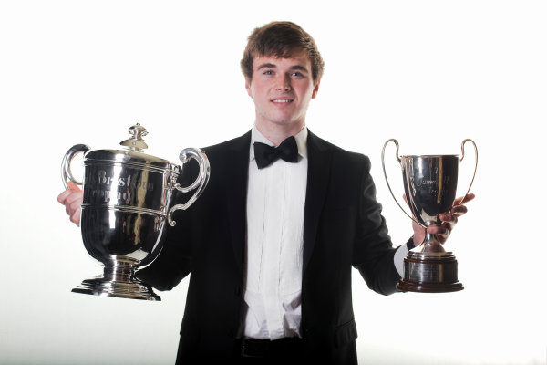 Grosvenor House Hotel, Park Lane, London 4th December 2011 McLaren Autosport BRDC Young Driver of the Year Award winner Oliver Rowland with the Chris Bristow and James Hunt trophies. Portrait World Copyright: Malcolm Griffiths/LAT Photographic ref: Digtal Image MG5D7498
