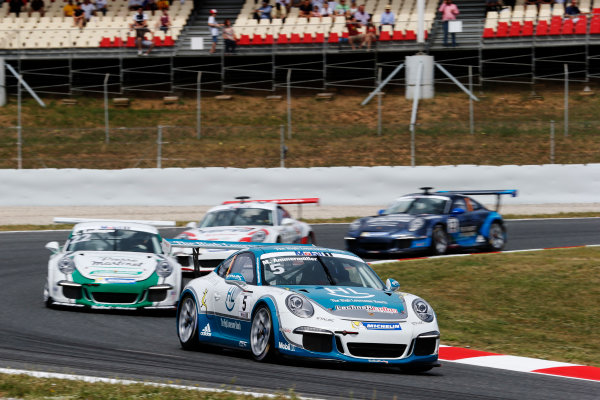 Circuit de Catalunya, Barcelona, Spain. Sunday 10 May 2015. Michael Ammermuller, No.5 Lechner Racing Middle East, leads Come Ledogar, No.22 Martinet by Almeras. World Copyright: Steven Tee/LAT Photographic. ref: Digital Image _L4R9658
