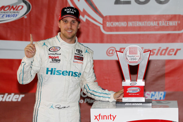 24 April, 2015, Richmond, Virginia USA Denny Hamlin, Hisense Toyota Camry in victory lane ?2015, Matthew T. Thacker LAT Photo USA