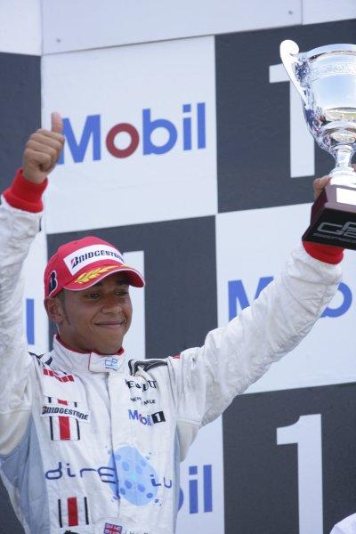 2006 GP2 Series Round 8. Hockenheim, Germany. 30th July 2006. Sunday race. Lewis Hamilton (GBR, ART Grand Prix) 3rd.World Copyright: Lorenzo Bellanca/GP2 Series Media Service. Ref: Digital Image Only.ZD2J1466 jpg