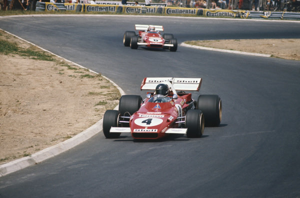 1971 German Grand Prix.  Nurburgring, Germany. 30th July - 1st August 1971.  Jacky Ickx, Ferrari 312B2, retired, leads Clay Regazzoni, Ferrari 312B2, 3rd position.  Ref: 71GER17. World Copyright: LAT Photographic