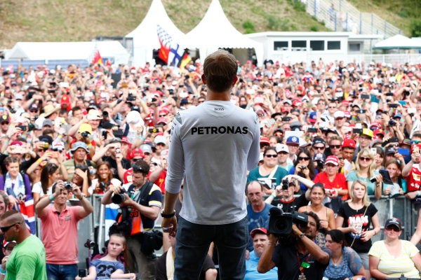 Hockenheim, Germany. Saturday 30 July 2016. Nico Rosberg, Mercedes AMG, on stage at an event for fans. World Copyright: Andy Hone/LAT Photographic ref: Digital Image _ONY7765