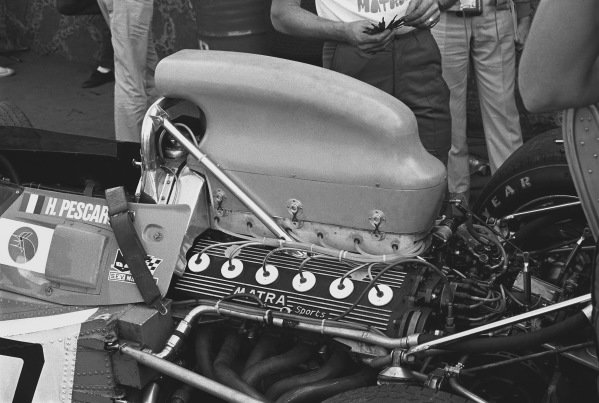 1970 Mexican Grand Prix. Mexico City, Mexico. 23-25 October 1970. The airbox and engine of a Matra-Simca MS120, action. World Copyright: LAT Photographic. Ref:  3387 - 4.