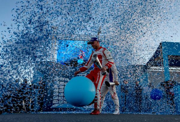 2016/2017 FIA Formula E Championship. Marrakesh ePrix, Circuit International Automobile Moulay El Hassan, Marrakesh, Morocco. Saturday 12 November 2016. Sam Bird (GBR), DS Virgin Racing, Spark-Citroen, Virgin DSV-02, Sebastien Buemi (SUI), Renault e.Dams, Spark-Renault, Renault Z.E 16 and Felix Rosenqvist (SWE), Mahindra Racing, Spark-Mahindra, Mahindra M3ELECTRO on the podium. Photo: Zak Mauger/Jaguar Racing ref: Digital Image _X0W6674