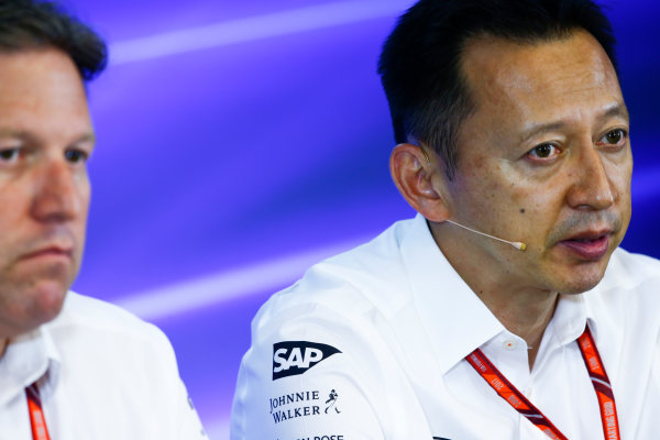 Spa Francorchamps, Belgium.  Friday 25 August 2017. Yusuke Hasegawa, Senior Managing Officer, Honda, in the Team Principals Press Conference. World Copyright: Andy Hone/LAT Images  ref: Digital Image _ONZ9489