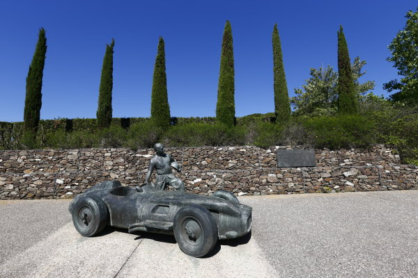 2016 GP2 Series Round 1.  Circuit de Catalunya, Barcelona, Spain. Thursday 12 May 2016. Juan Manuel Fangio statue. Photo: Zak Mauger/GP2 Series Media Service. ref: Digital Image _L0U6525