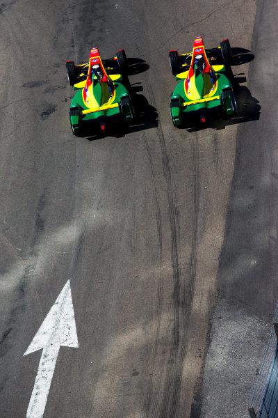2015/2016 FIA Formula E Championship. Testing, Punta del Este, Uruguay. Sunday 20 December 2015. Daniel Abt (GER), ABT Audi Sport FE01 and Lucas Di Grassi (BRA), ABT Audi Sport FE01. Photo: Zak Mauger/LAT/Formula E ref: Digital Image _L0U9373
