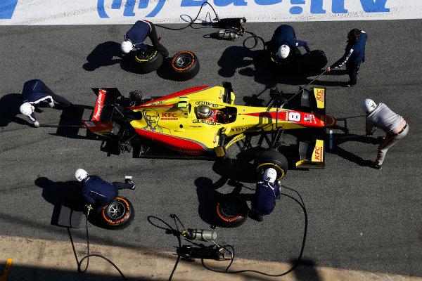 2016 GP2 Series Test 1. Circuit de Catalunya, Barcelona, Spain. Friday 11 March 2016. Sean Gelael (INA, Jagonya Ayam Campos Racing), makes a pit stop World Copyright: Sam Bloxham/LAT Photographic. ref: Digital Image _L4R9653