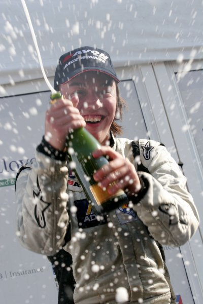 2007 British Formula Three Championship.  Snetterton, England. 2nd - 3rd June 2007. Viktor Jensen, (Alan Docking Racing) celebrates with champagne on the podium after wining the national class. Portrait. World Copyright: Drew Gibson/LAT Photographic. Ref: Digital Image Only.