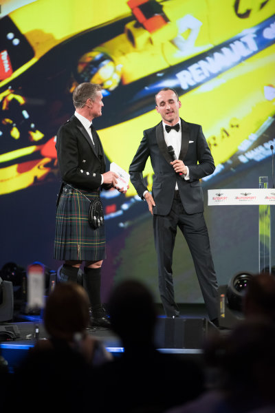 2017 Autosport Awards Grosvenor House Hotel, Park Lane, London. Sunday 3 December 2017. Robert Kubica on stage with Presenter David Coulthard. World Copyright: Zak Mauger/LAT Images  ref: Digital Image _O3I7100