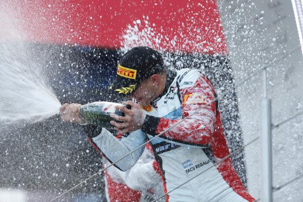2013 GP3 Series. Round 4.  Nurburgring, Germany.  6th July 2013.  Saturday Race. Facu Regalia (ARG, ART Grand Prix) celebrates his victory on the podium.  World Copyright: Andrew Ferraro/GP2 Series Media Service. Ref: _79P5799