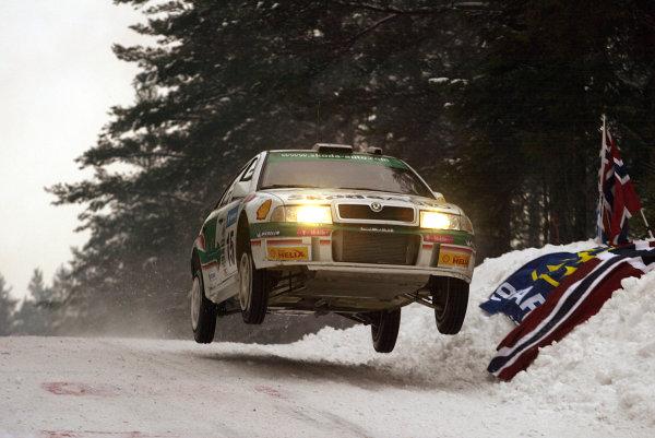 2003 FIA World Rally Championship. Karlstad, Sweden. Rd2.6-9 February 2003.Didier Auriol/Daniel Giraudet (Skoda Octavia WRC Evo3).World Copyright: McKlein/LAT Photographic