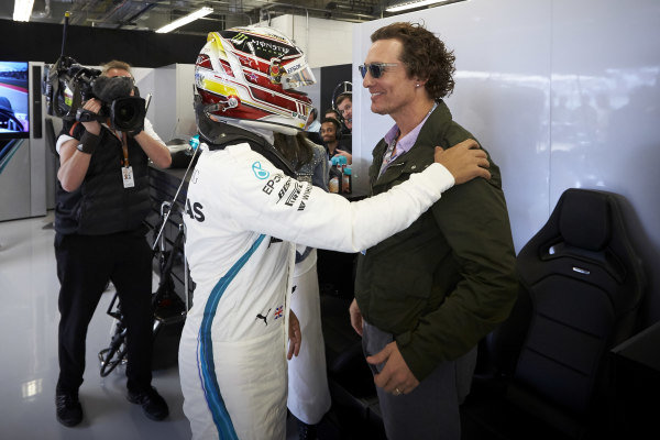 Lewis Hamilton, Mercedes AMG F1, meets Actor Matthew McConaughey