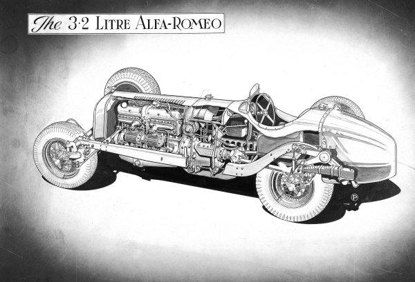 1935 3.2-litre Alfa Romeo Tipo B P3. Cutaway drawing. Ref-Motor CA/108. Published-12/1/1937. World Copyright - LAT Photographic
