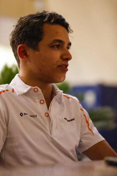 Lando Norris, McLaren, talks to the media.