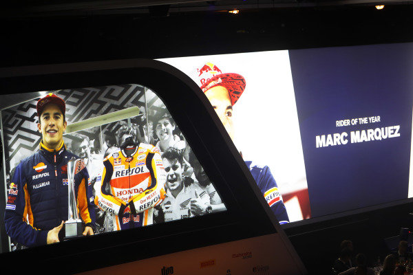 Marc Marquez accepts the Rider of the Year award via video link