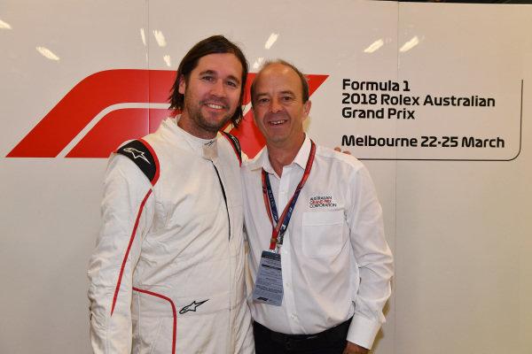 F1 Experiences 2-Seater passenger and Andrew Westacott (AUS) Australian GP CEO at Formula One World Championship, Rd1, Australian Grand Prix, Race, Melbourne, Australia, Sunday 25 March 2018.