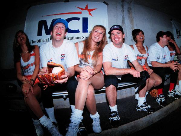 GREG MOORE with Jimmy Vasser, charity softball game, Spring Training 97-1999, Michael L. Levitt, USALAT PHOTOGRAPHIC